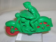 Vintage Auburn Rubber Policeman Motorcycle Toy Green & Red Wheels Made in USA