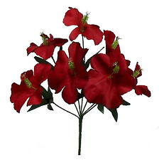5 HIBISCUS ~ RED ~ Silk Wedding Flowers Bridal Bouquets Decorations Centerpieces