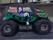 MONSTER JAM PUFF PILLOW TRUCK GRAVE DIGGER BLACK NYLON SOFT STUFFED TOY - 1999