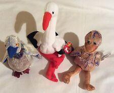 3 X Ty Pájaro Beanie Babies Baby Soft Toys Dinky Buzzy & zancos aves BNWT
