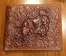 Embossed Real Leather Stock Market Bull & Ancient Coins Unique Bi-Fold Wallet !