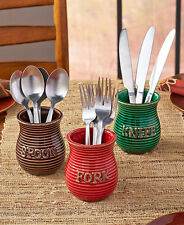Set of 3 Flatware Crocks Utensil Holder Autumn Colored Spoon Fork Cutlery Holder