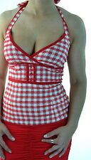 LIVING DEAD SOULS GOTHIC EMO SEXY PIN UP ROCKABILLY GINGHAM TOP RED TPA1503 XXL