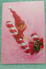 ELF MOD Mid Century Funky UNSIGNED vtg CHRISTMAS CARD PINK Wolfgang Otto #RWCC14