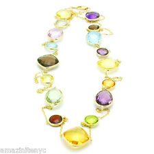 14K Yellow Gold Fancy Cut Multi Color & Multi Shape Gemstones Necklace 36 Inches