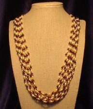 "A 7-strand 27"" fresh-water Pearl-Garnet/Amethyst-golden bead Necklace, Versatile"