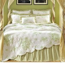 GREEN WHITE TOILE Full Queen QUILT SET : FRENCH COUNTRY CHIC TICKING COMFORTER