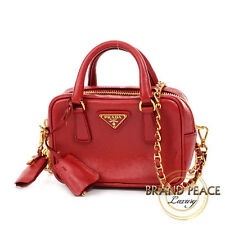 Red BL0705 leather with saffiano leather Prada 2way mini shoulder Free Shipping