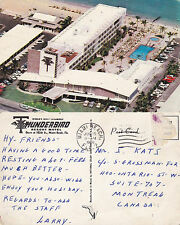 1960 THUNDERBIRD MOTEL MIAMI BEACH FLORIDA UNITED STATES COLOUR POSTCARD