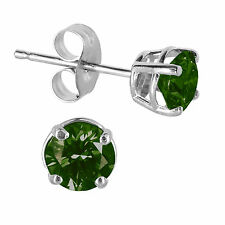 1/5ct forest green Round Cut Diamond Stud Earrings Sterling Silver (I2-I3)