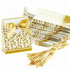 100 Gold Wedding Favour Favor Sweet Cake Gift Candy Boxes Bags Anniversary Party