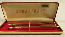 VINTAGE STRATFORD PEN AND PENCIL SET MADE IN ITALY SQUARE SHAPED