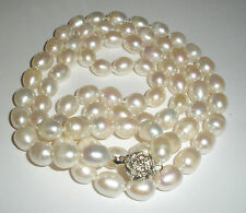 """New 7-8 MM South Sea Baroque White Pearl Necklace 18"""" AA"""