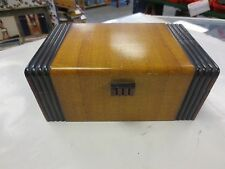 "VINTAGE EARLY ART DECO WOODEN STORAGE BOX 8 1/2"" X 5"" X 3 1/2"" Mirrored Lined"