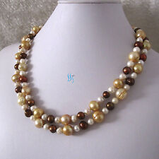 """40"""" 7-12mm White Champagne Coffee Freshwater Pearl Necklace"""