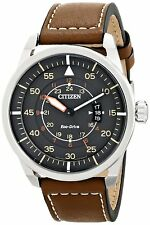 Citizen Eco-Drive Mens AW1361-10H Sport Stainless Steel Watch Brown Leather Band