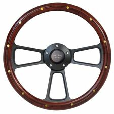"14"" Real Mahogany Wood Steering Wheel w/ Chevy Horn for Chevy C/K Series Truck"
