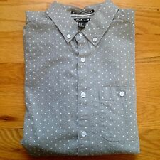 Forever 21 Men's Light Grey Polka Dot Casual Shirt Size Extra Small Oxford