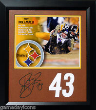 Troy Polamalu Steelers #43 Laser cut Auto Signature on Football mat Framed 8x10