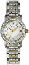 BULOVA #98R104 GENUINE DIAMOND  MOTHER OF PEARL  WOMENS GOLD SILVER 2-TONE WATCH