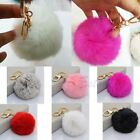 New Soft Rabbit Fur Ball PomPom Cell Phone Car Pendant Handbag Key Chain Ring