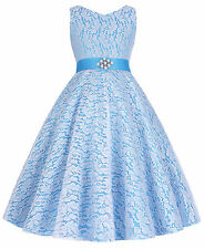 NEW Wedding Party Formal Flower Girls Dresses V Neck Lace Tulle Pageant Dresses