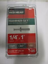 """PACK OF 25 RED HEAD HAMMER SET HEAVY DUTY NAIL DRIVE ANCHOR 1/4"""" X 1"""""""