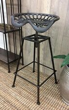 STOOL CHAIR TRACTOR SEAT TOBY OUTDOOR CAST IRON BAR RESTAURANT BLACK