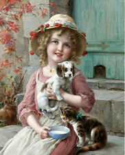 Oil painting Emile Vernon - New Friends lovely little girl with cat dog canvas