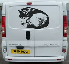 SIBERIAN HUSKY CURLED DECAL SLED DOGS HUSKIES DOG SIBE CAR VAN DECAL STICKER