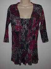 SWEET PEA Floral Paisley Empire Waist Mesh Top Shirt Size L Pink Orange Brown