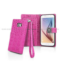 Dual Wallet Flip Crocodile Leather Case Cover Strap for iPhone Galaxy LG