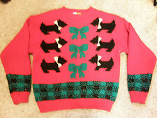 UGLIEST crazy tacky vintage CHRISTMAS party SWEATER Scotty Dogs and Bows LT-24