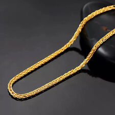 "7.5""L Pure 24K Yellow Gold Bangle Women's & Men Wheat Chain Link Bracelet 2.5-3g"