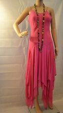 Fully Lined Assymetric Layered Party Dress Evening Dress Fuschia Pink Size Small