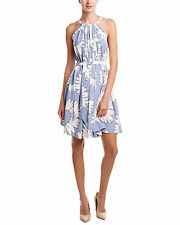 Gracia Halter Light Blue Sunflower Shift Dress $104 Retail Size M New