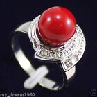 Genuine 10mm Coral Red Color South Sea Shell Pearl Crystal Ring Size 7# 8# 9#