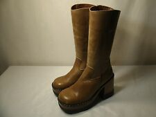 LONDON UNDERGROUND BROWN LEATHER HIGH BOOTS / SIZE US 6 EUR 36 WOMEN'S