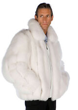Madison Ave Mall Mens Natural White Fox Fur Jacket Coat Large