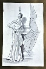 Annie Offterdinger Modezeichnung Fashion Illustration 30x42 20er Art Deco Kleid