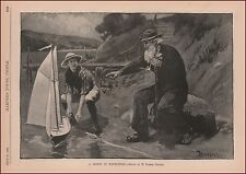 Large Model TOY Sailboat, Navigation Lesson, by Bodfish, antique print,  1888