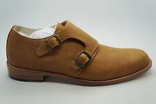 ESQUIVEL Tan Double Buckle Monk Strap Leather Oxfords Shoes Sz 10 NEW $850