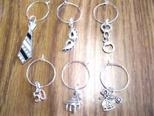 SET OF 6  WINE GLASS CHARMS Inspired by YOU & 50 Shades of Grey U Pick-25 CHARMS