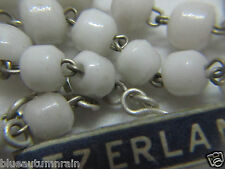 "† VINTAGE MADE IN ""SWIZTERLAND"" PRESSED MILK WHITE GLASS ROSARY FOR CHARITY †"