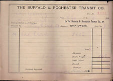 The Buffalo & Rochester Transit Co 1896 Shipping Invoice Upstate NY
