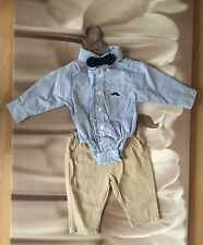 Baby Boys Bodysuit Shirt with Bow & Chino Pants Set 6-12 Months