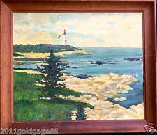 "ANTIQUE OIL PAINTING ""LIGHTHOUSE"" CREATED IN 1930-1940s.ORIGINAL WOODEN FRAME."