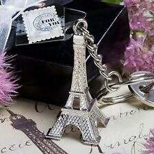 25 Silver Eiffel Tower Key Chains Keychain Wedding Favors Paris Party Favors