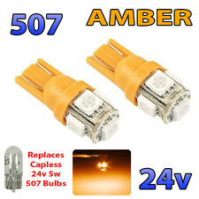 2 x AMBER 24v Capless Marker Light 507 501 W5W 5 SMD T10 Wedge Bulbs HGV Truck