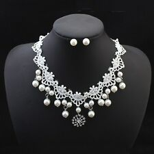 Charm Womens Pearl Bride Pendant Chain Chunky Necklace Stud Earrings Jewelry Set